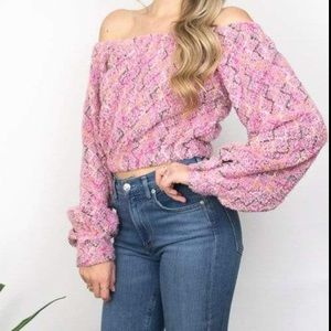 Pretty Pink Off the Shoulder long sleeve b…